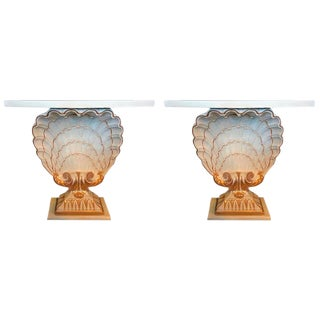 Maison Jansen Shell Form White & Gilt Demi-Lune Console Tables - a Pair For Sale
