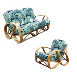 Restored 3/4 Round Pretzel Restored Rattan Lounge Chair & Sofa W/ Beverly Palms Cushions For Sale