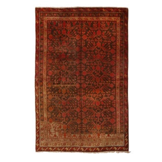 1920s Antique Khotan Transitional Red and Brown Wool Rug- 5′3″ × 7′11″ For Sale