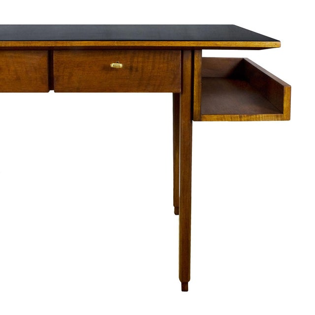 1970s Rationalist Desk by Pietro Bossi, Waxed Walnut, Brass, Formica - Italy For Sale - Image 9 of 13
