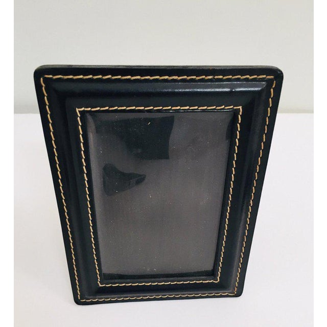 Vintage Desk Set, Black Leather and Brass Letter Rack, Picture Frame and Notepad For Sale - Image 12 of 13