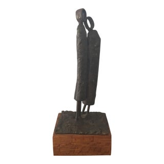 1968 Mid-Century Modern Brutalist Two Women Bronze Sculpture