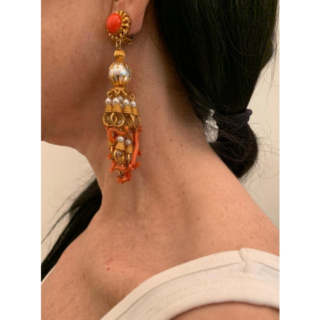 Boho Chic Vintage Pearl and Coral Chandelier Statement Earrings For Sale - Image 3 of 13