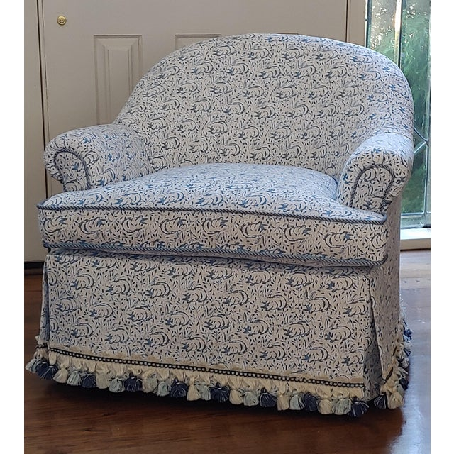 Traditional Custom Upholstered Bunny Tub Chairs - a Pair For Sale - Image 3 of 6