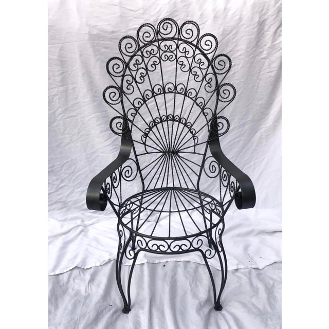 Traditional Vintage Wrought Iron Patio Chairs For Sale - Image 3 of 8