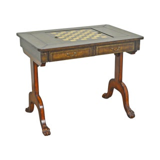 Maitland Smith Regency Style Tooled Leather Game Table For Sale