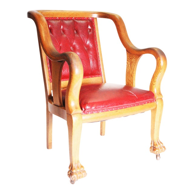 Vintage Wood & Red Leather Gentleman's Chair For Sale