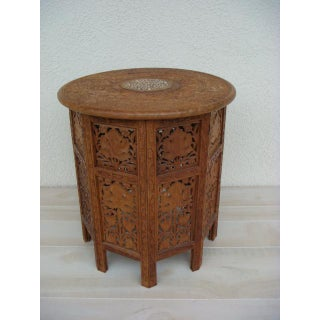 20th Century Boho Chic Teak Wood Octagonal Round Top Carved End Table Preview
