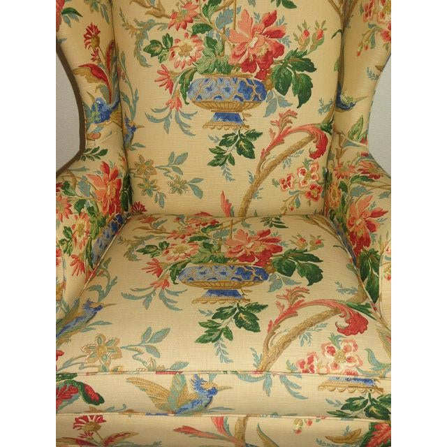 2010s Queen Anne Style Floral Upholstered Wing-Backed Chairs - a Pair For Sale - Image 5 of 13