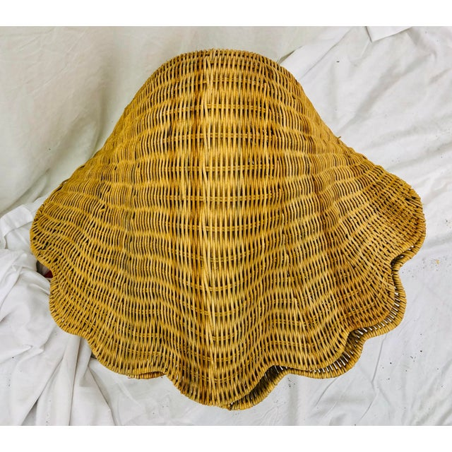 Wicker Vintage Woven Wicker Clam Shell Basket For Sale - Image 7 of 13