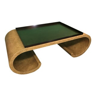 Theodore Alexander Scroll Wicker Tray Top Coffee Table For Sale