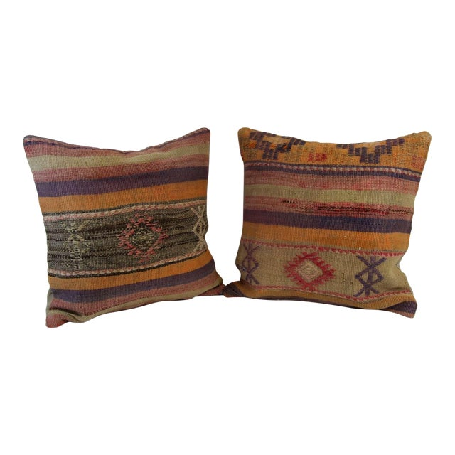 Turkish Kilim Pillow Covers - A Pair - Image 1 of 7