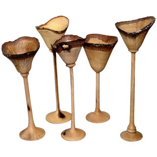 Exquisite Set of Five Hand-Turned Wood Cups by Paul Maurer For Sale