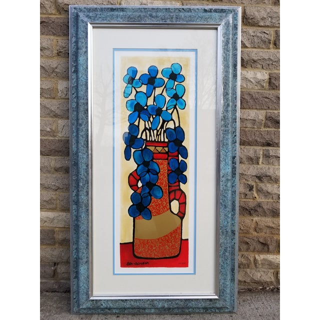 """Blue Flowers"" Serigraph by Avi Ben Simhon For Sale - Image 13 of 13"