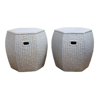 Faux Bamboo Garden Stools - A Pair For Sale