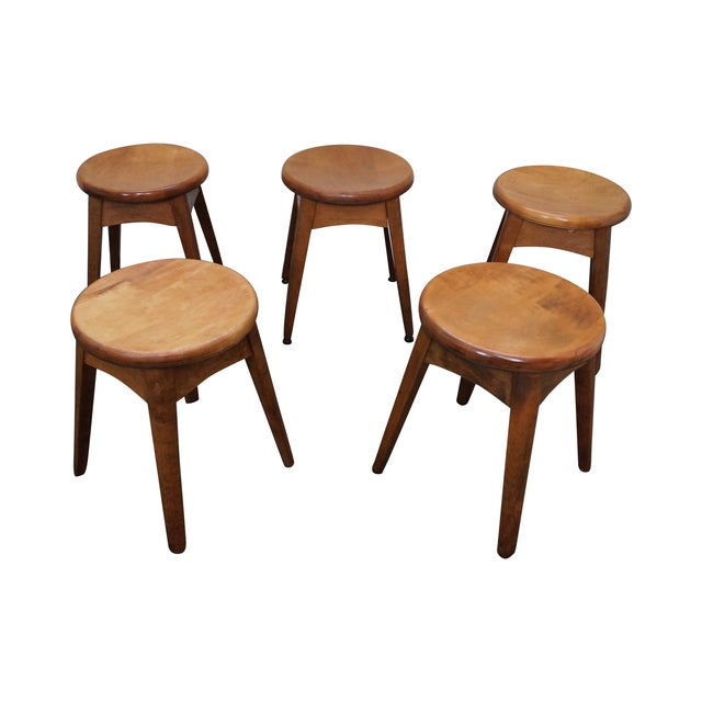 Vintage Solid Maple Stools Benches - Set of 5 - Image 1 of 9