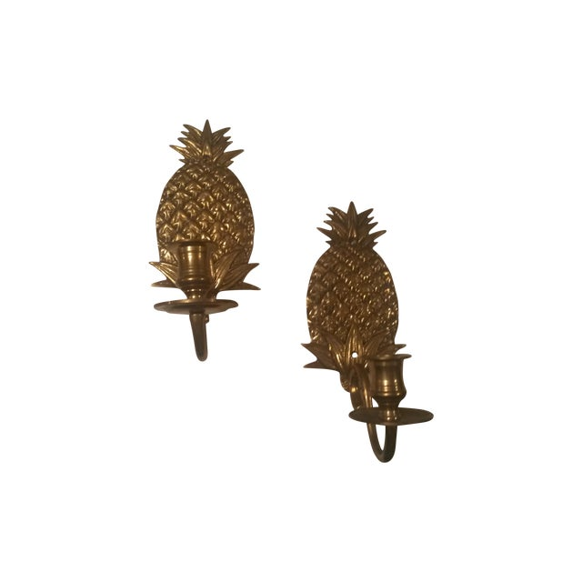 Brass Pineapple Wall Sconces - Pair - Image 1 of 3