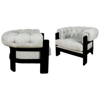 1970s 'Chesterfield' Style Pair of Armchairs, Beech, Felt - Spain, Barcelona For Sale