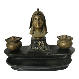 Antique Egyptian Bronze and Marble Inkwell