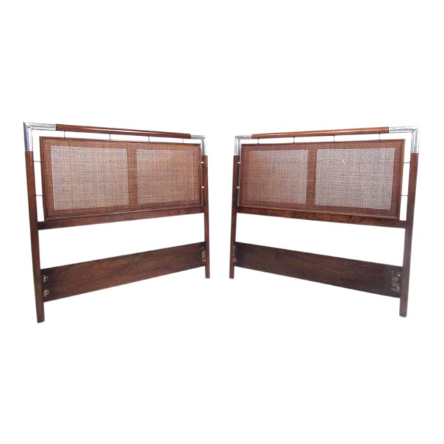 Mid-Century Cane and Chrome Twin Size Headboards - A Pair For Sale
