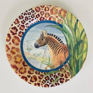 Vintage Gien France Savane Animal Print Canape or Dessert Plates - Set of 6 Preview