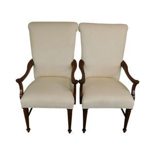 Lexington Country French White Upholstered Pair Host Armchairs For Sale
