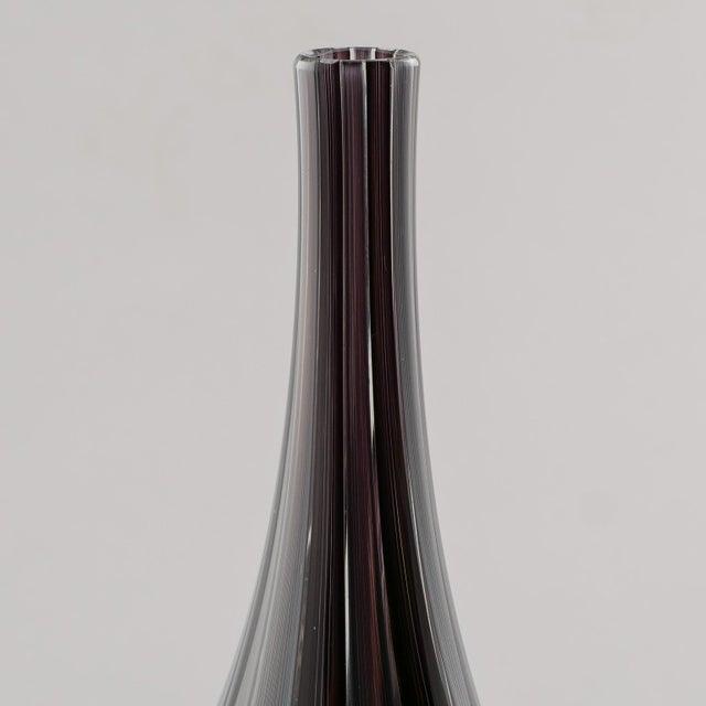 Adriano dalla Valentina Murano Glass Vase With Slender Neck For Sale - Image 9 of 9
