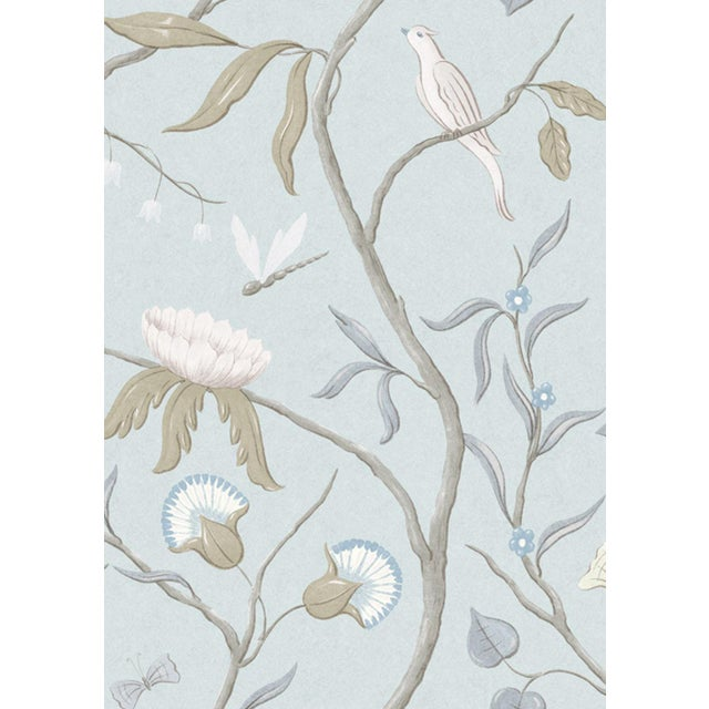 "English Adam's Eden Snowbird Extra Wide 51"" Botanic Style Wallpaper Sample For Sale - Image 3 of 4"
