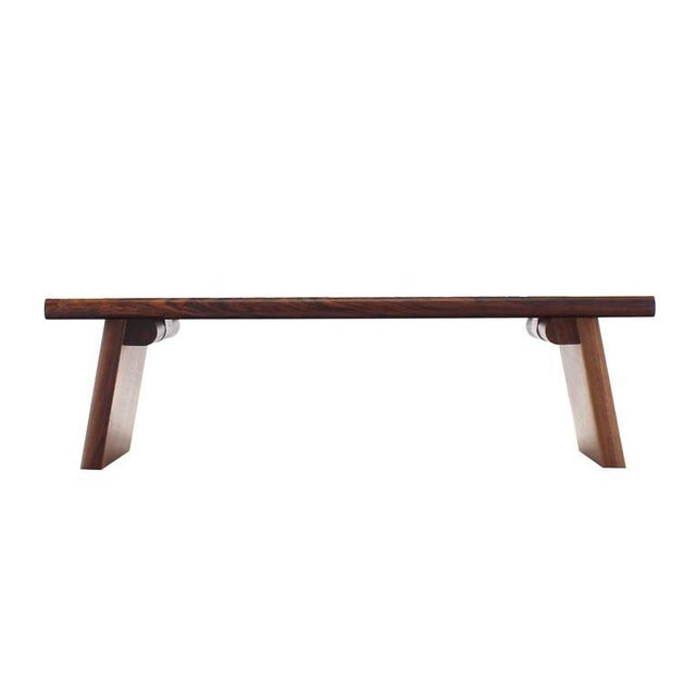 Brown Mid-Century Modern Rosewood and Tile Top Folding Legs Serving Tray For Sale - Image 8 of 11
