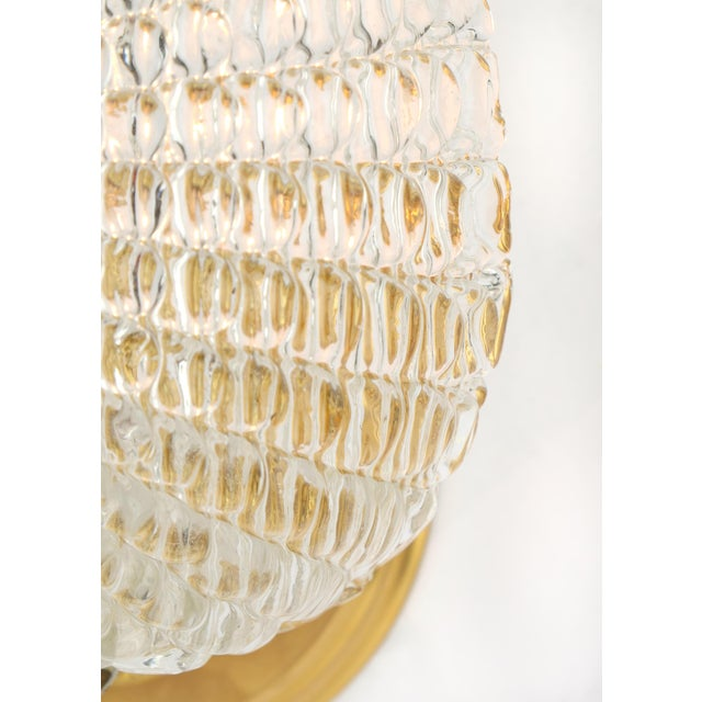 Murano Glass Leaf and Brass Wall Sconces For Sale - Image 9 of 9