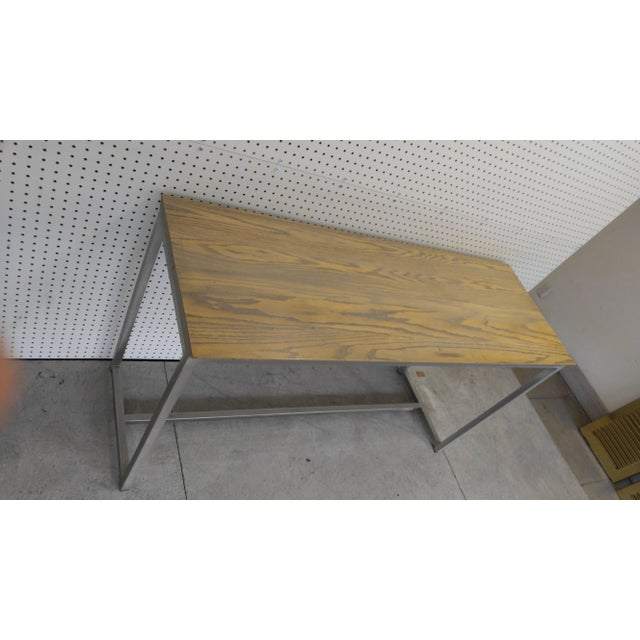 Oak Wood Top & Metal Base Console For Sale - Image 4 of 7
