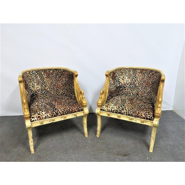 White French Style Swan Carved Cream & Gilt Bergeres- a Pair For Sale - Image 8 of 8