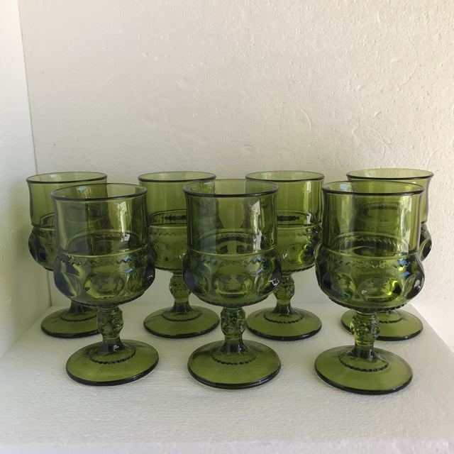 Mid-Century Modern Mid-Century Green Goblet Glasses - Set of 7 For Sale - Image 3 of 10