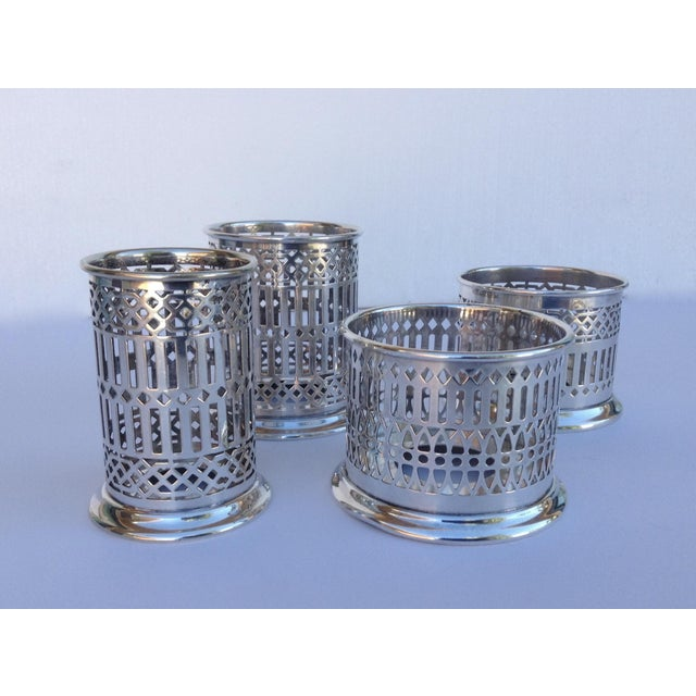 American Classical Vintage Silver Plate Celtic Pierced Syphons - Set of 4 For Sale - Image 3 of 11