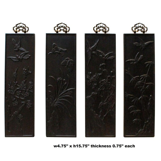 This is a set of 4 decorative pieces of traditional Chinese rectangular shape panel plaque. It is a small wood wall decor...