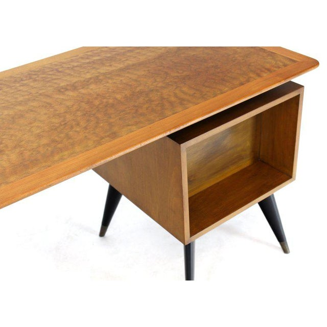 Wood Italian Birch Tiger Maple Exposed Sculptural Legs One Pedestal 4 Drawers Desk For Sale - Image 7 of 13
