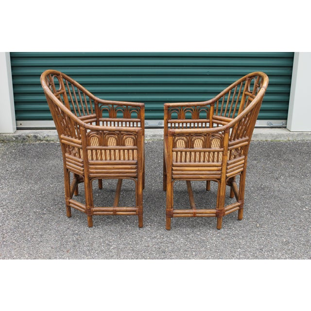 Chinoiserie Bamboo Rattan Brighton Pavilion Chairs - a Pair For Sale - Image 4 of 9