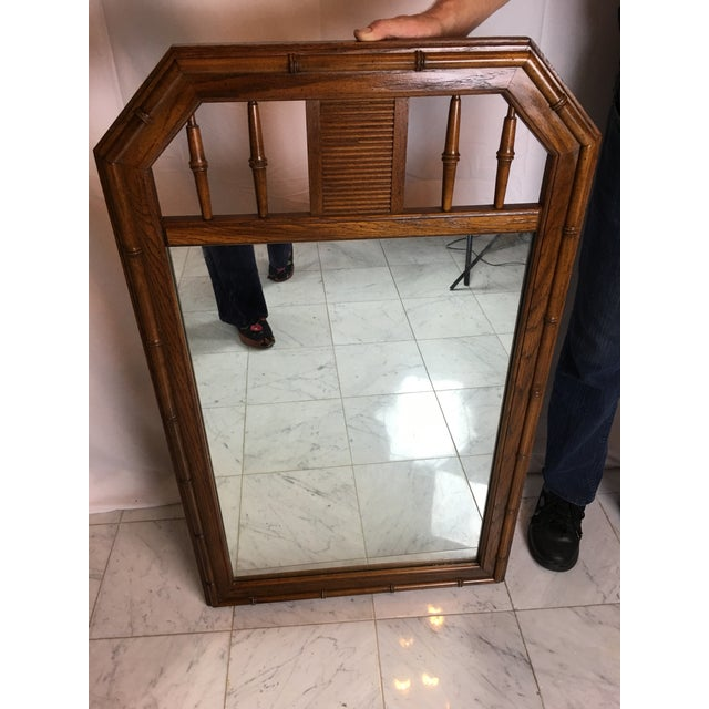 Boho Chic 1960s Boho Chic Faux Bamboo Wood Mirror For Sale - Image 3 of 8