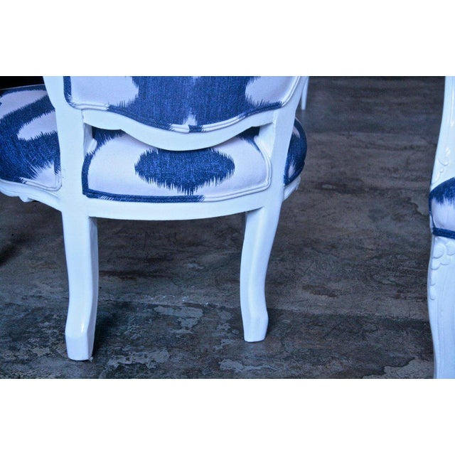 Cotton Italian White Lacquered Armchairs For Sale - Image 7 of 9