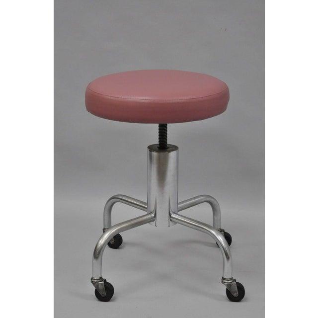 Pink Vintage Chrome Pink Vinyl Adjustable Work Stool For Sale - Image 8 of 9