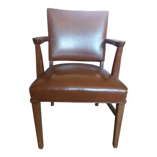 Vintage Naugahyde & Wood Office Chair