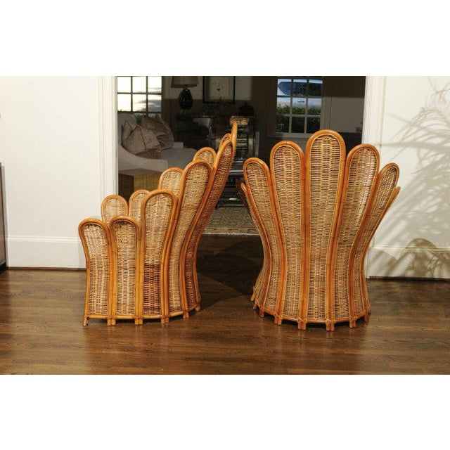 Majestic Restored Pair of Vintage Rattan and Wicker Palm Frond Club Chairs For Sale - Image 9 of 13