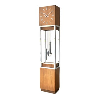 Mid Century Modern Wooden Cased Grandfather Clock 1980s For Sale