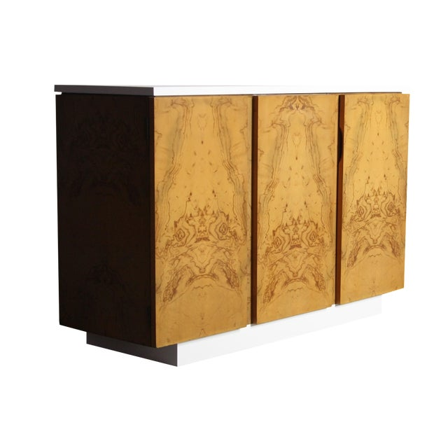 Milo Baughman Burl Wood 2-Tone Credenza Buffet For Sale