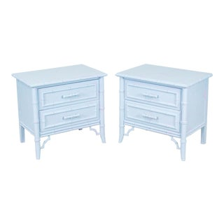 Mid-Century Faux Bamboo Sea-Foam Blue Nightstands - a Pair For Sale