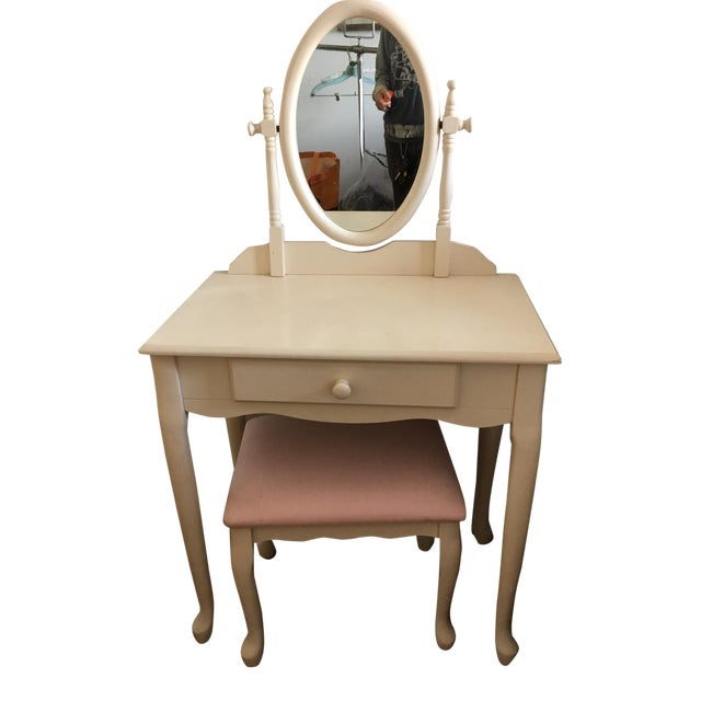 White Vanity With Mirror and Pink Stool Set For Sale