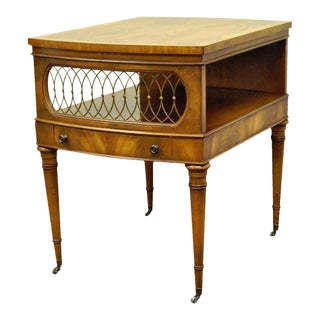 Vintage Weiman Regency Style Banded Crotch Mahogany Side End Lamp Accent Table