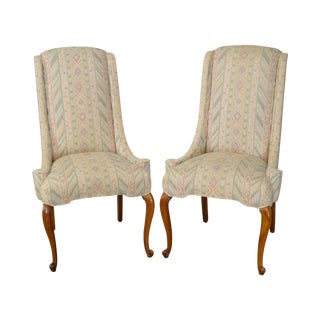 Vintage Louis XV Style Host Wing Chairs - A Pair