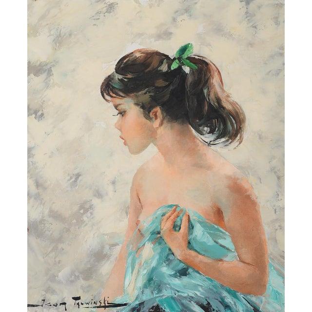 Mid-Century Modern Igor Talwinski Portrait of Innocent Girl Painting For Sale - Image 3 of 10