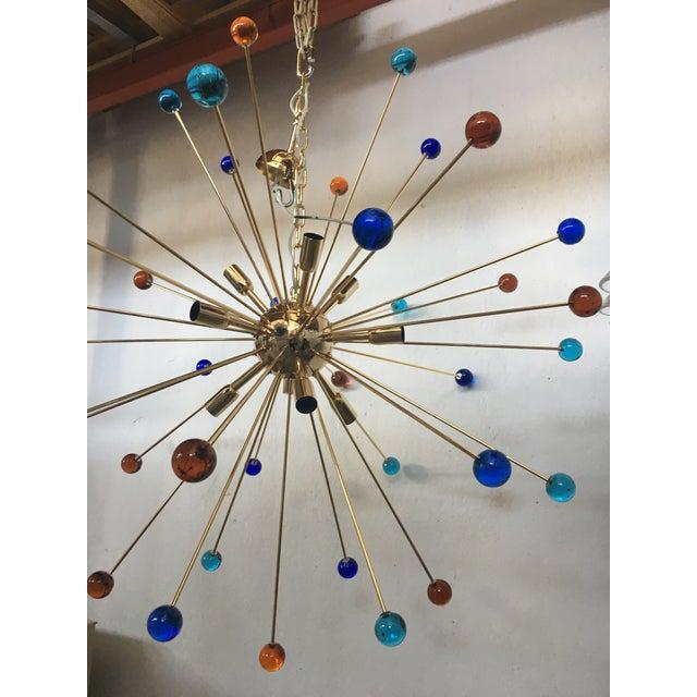 Gold Multicolor Murano Glass Triedo Sputnik Chandelier For Sale - Image 8 of 12
